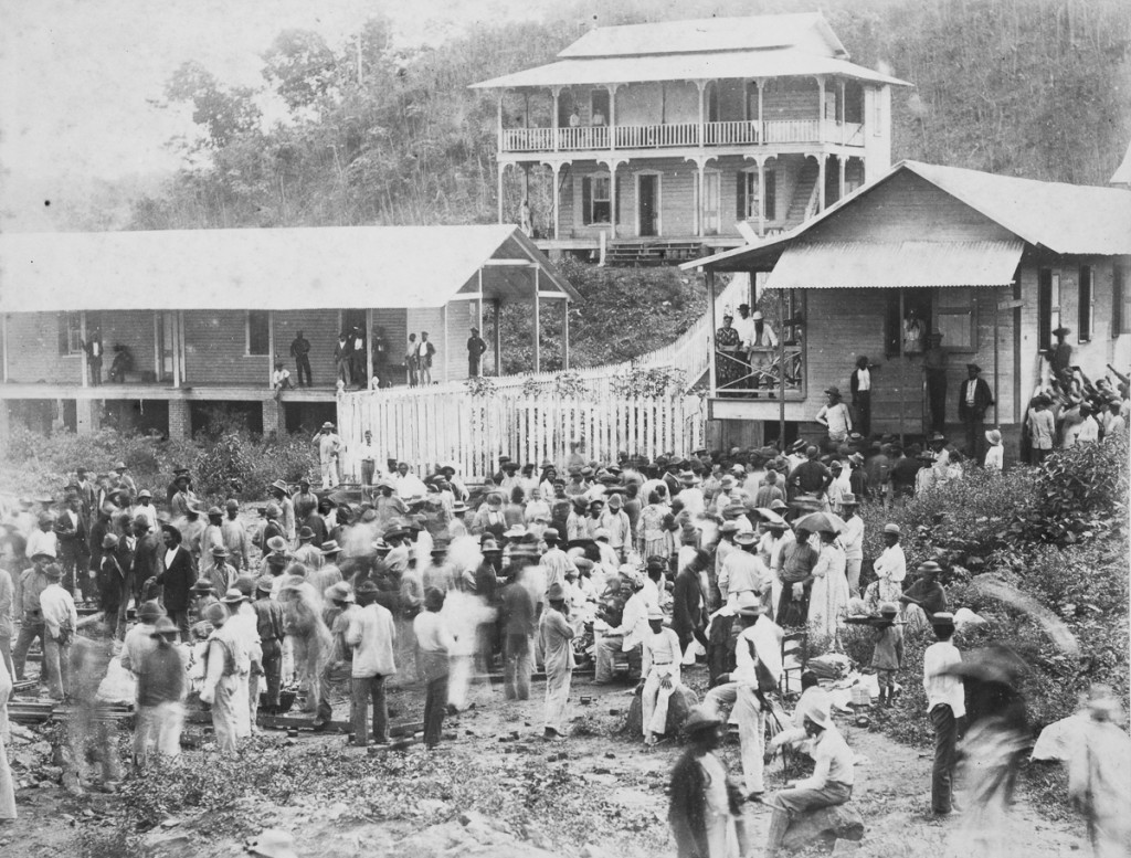Pay day, Panama Canal construction, c 1885.