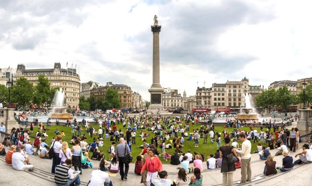 Трафальгарская площадь в Лондоне, Англия.